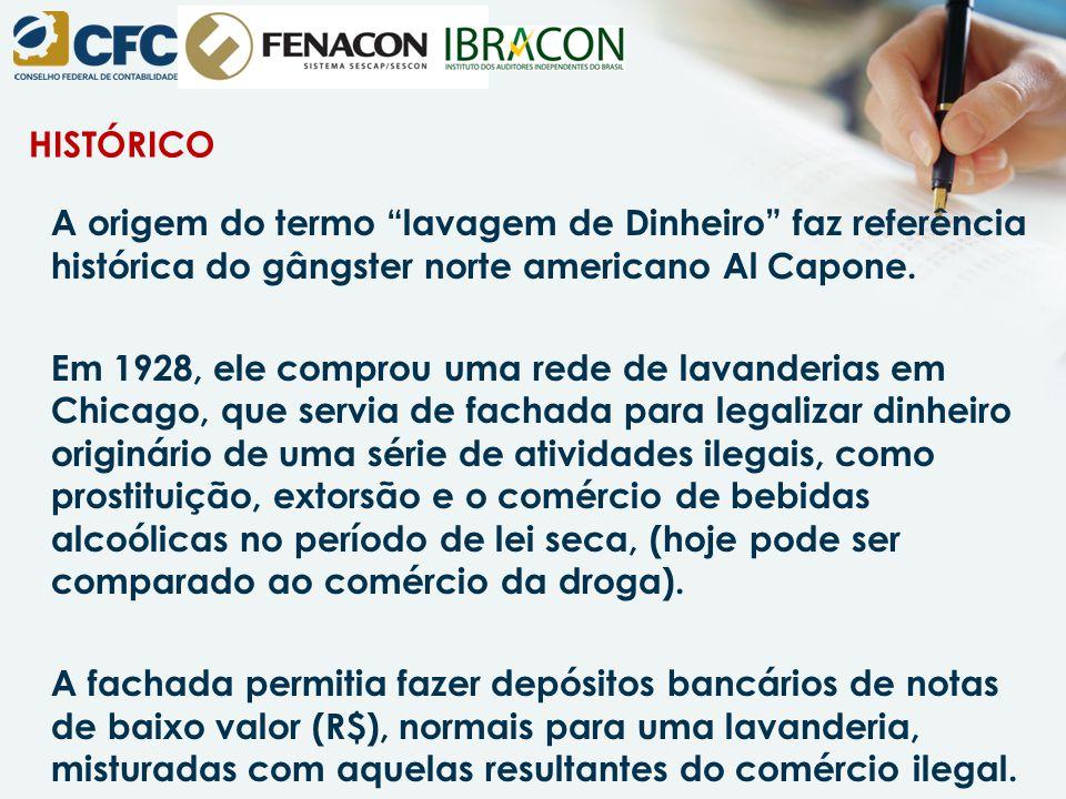 HISTÓRICO A origem do termo lavagem de Dinheiro faz referência histórica do gângster norte americano Al Capone.