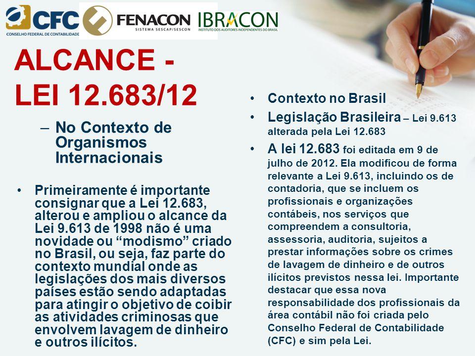 ALCANCE - LEI 12.683/12 No Contexto de Organismos Internacionais