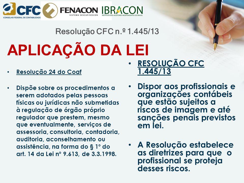 APLICAÇÃO DA LEI Resolução CFC n.º 1.445/13 RESOLUÇÃO CFC 1.445/13