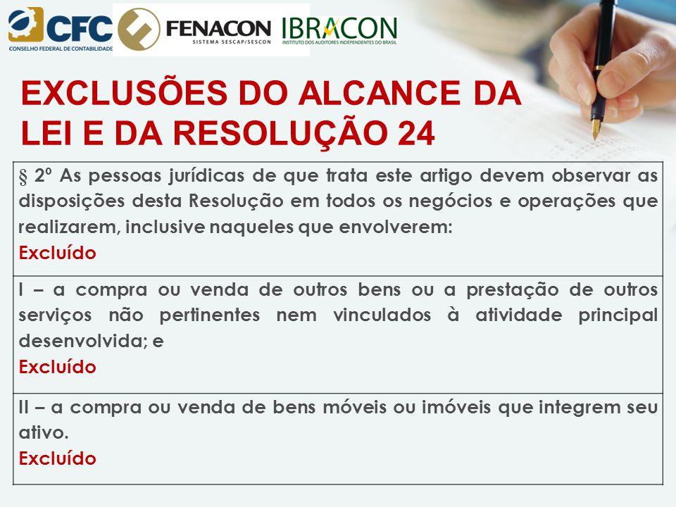EXCLUSÕES DO ALCANCE DA LEI E DA RESOLUÇÃO 24