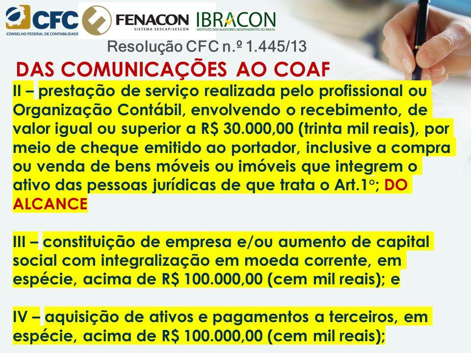 DAS COMUNICAÇÕES AO COAF