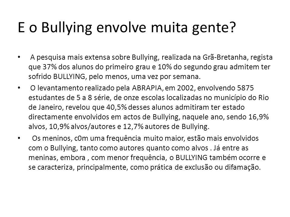 E o Bullying envolve muita gente