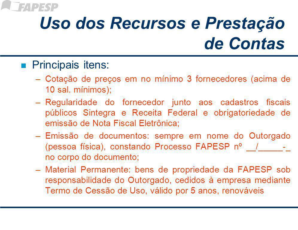 Uso dos Recursos e Prestação de Contas