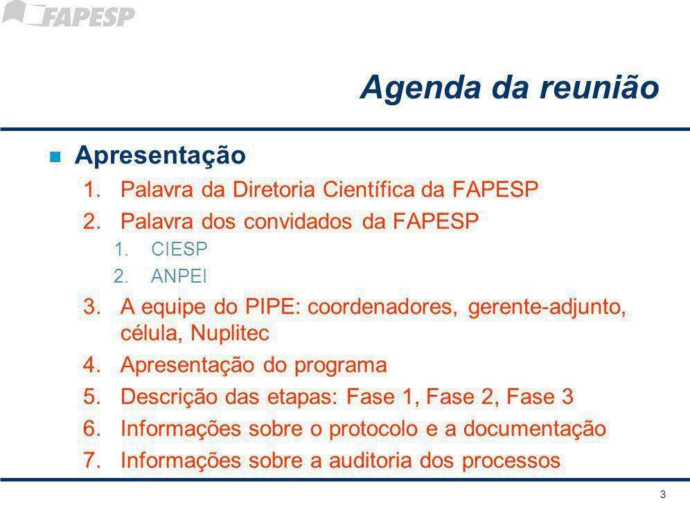 Agenda da reunião Apresentação