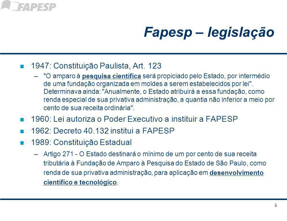 Fapesp – legislação 1947: Constituição Paulista, Art. 123
