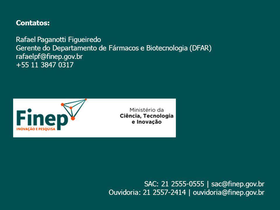 Contatos: Rafael Paganotti Figueiredo Gerente do Departamento de Fármacos e Biotecnologia (DFAR) rafaelpf@finep.gov.br +55 11 3847 0317