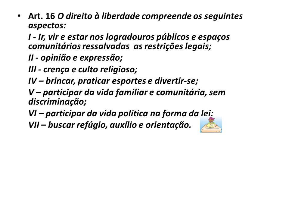 Art. 16 O direito à liberdade compreende os seguintes aspectos: