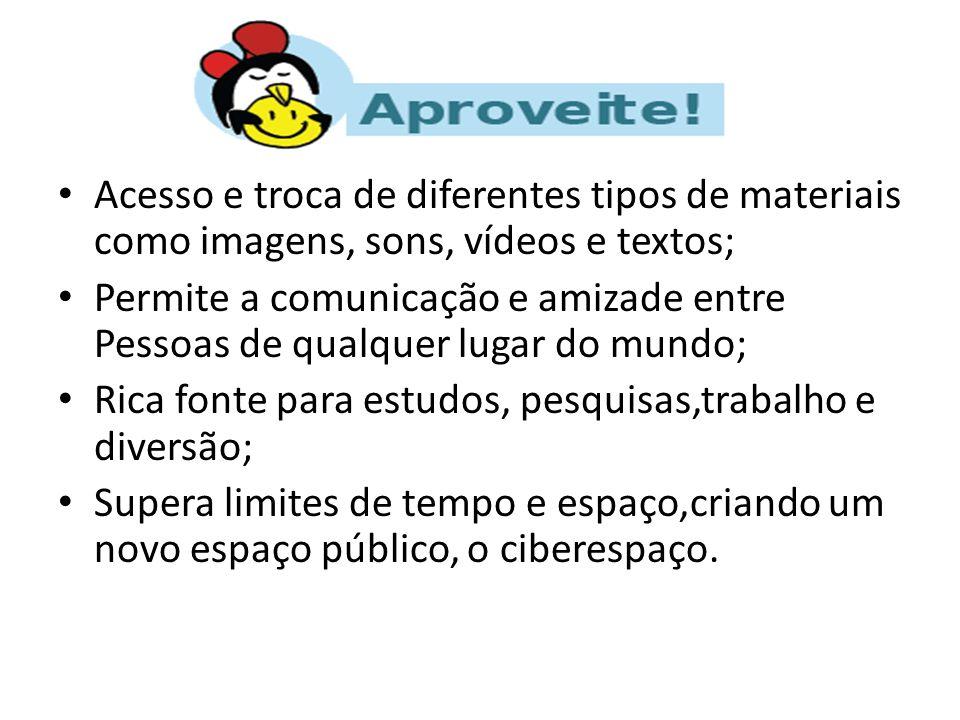 Acesso e troca de diferentes tipos de materiais como imagens, sons, vídeos e textos;