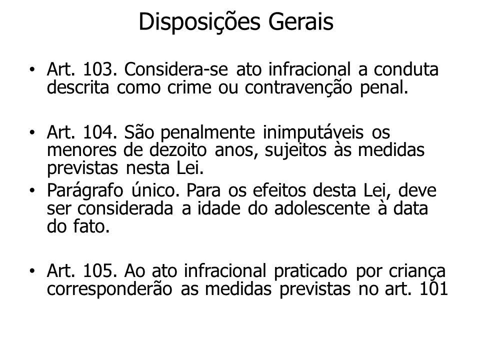 Disposições Gerais Art. 103. Considera-se ato infracional a conduta descrita como crime ou contravenção penal.