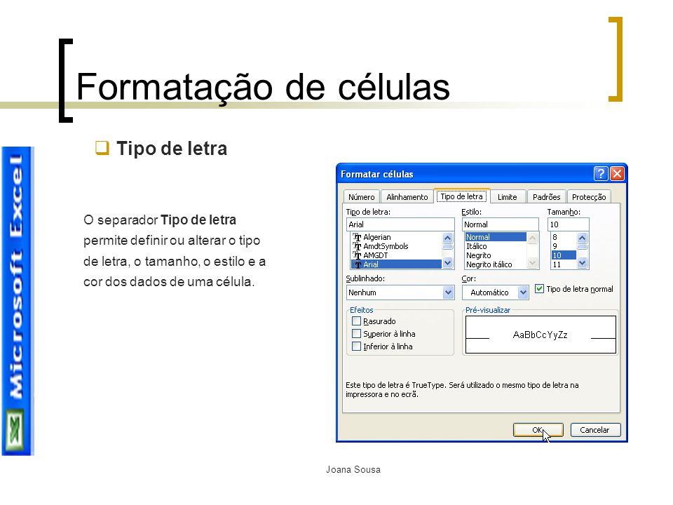 Formatação de células Tipo de letra