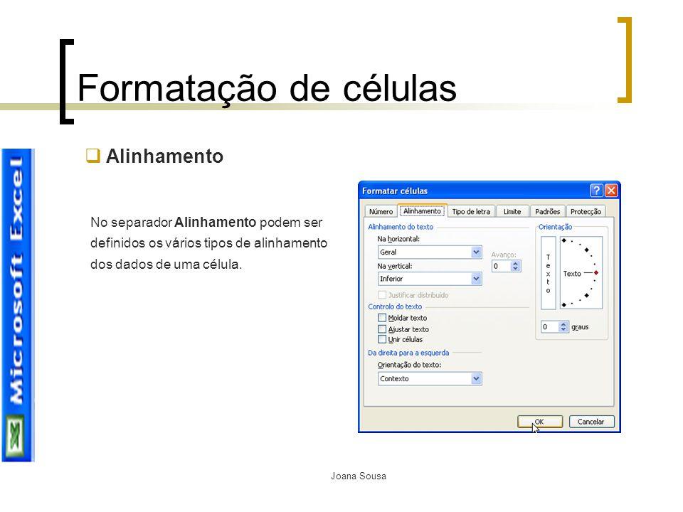 Formatação de células Alinhamento