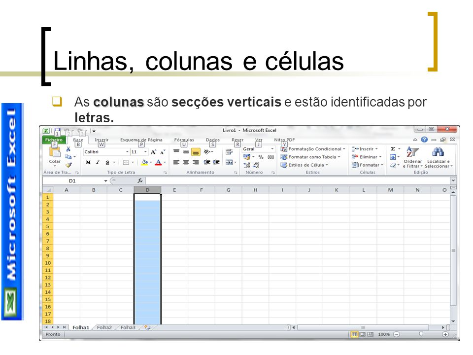 Linhas, colunas e células