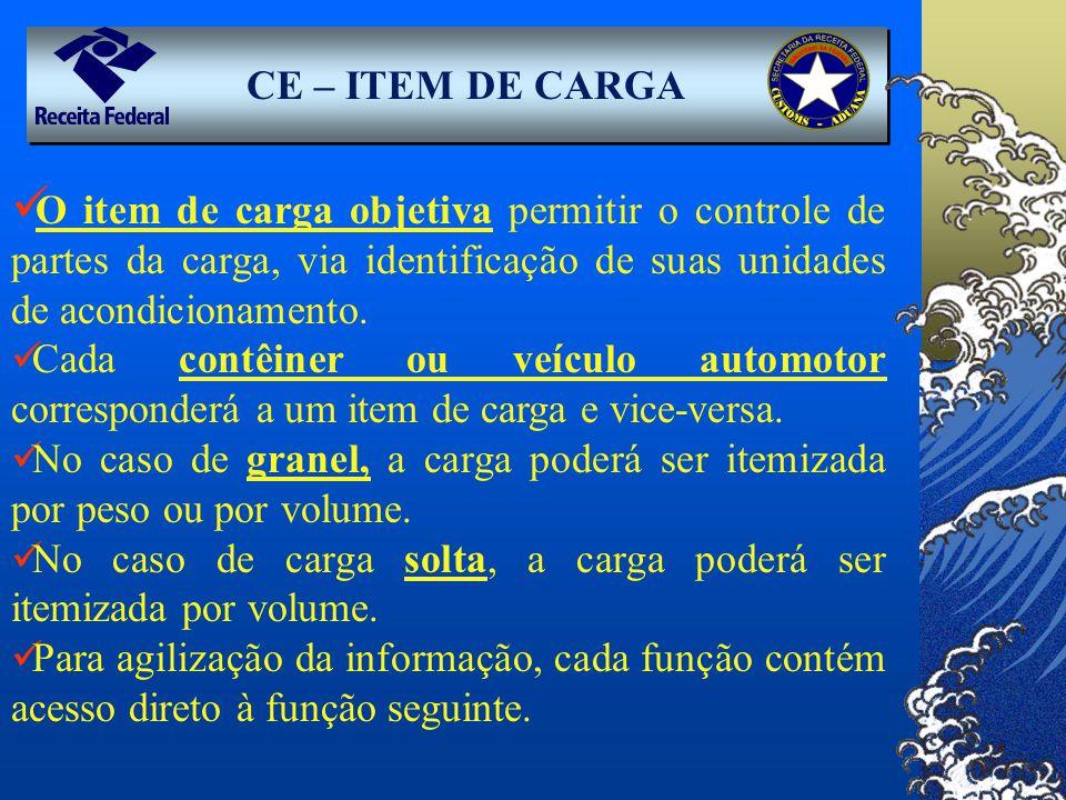 CE – ITEM DE CARGA O item de carga objetiva permitir o controle de partes da carga, via identificação de suas unidades de acondicionamento.