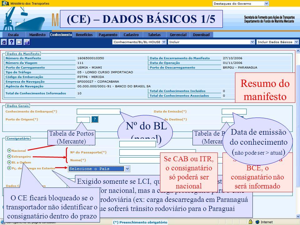 (CE) – DADOS BÁSICOS 1/5 Resumo do manifesto Nº do BL (papel)