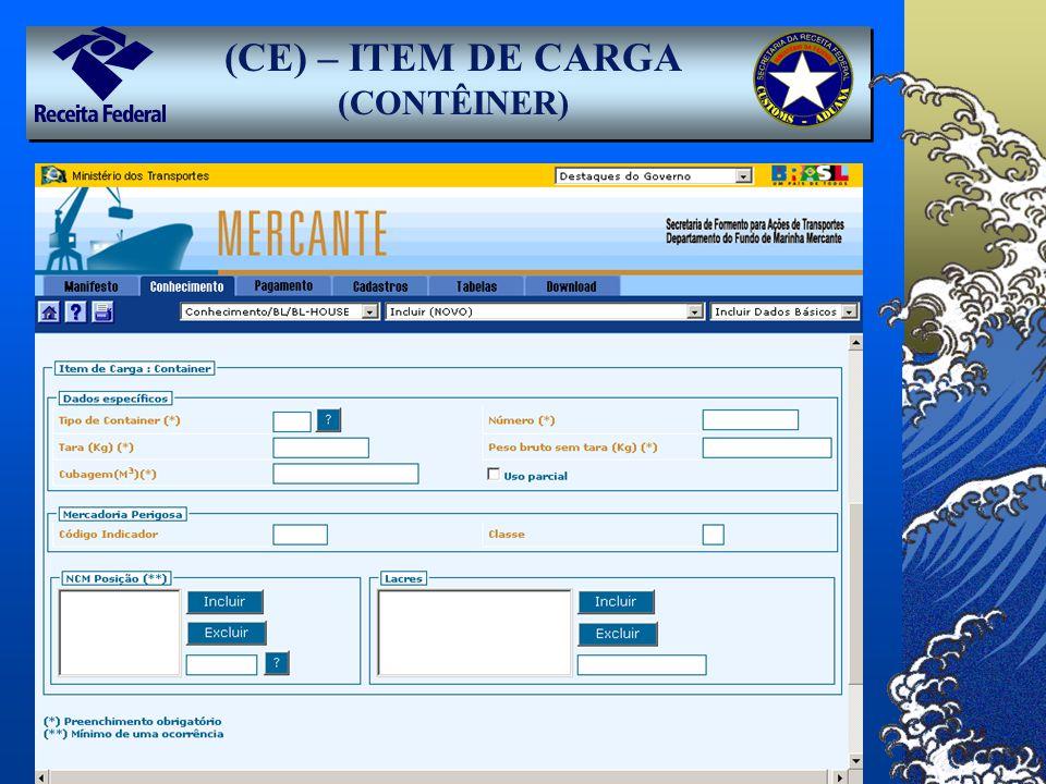(CE) – ITEM DE CARGA (CONTÊINER)