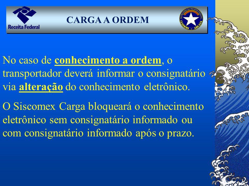CARGA A ORDEM No caso de conhecimento a ordem, o transportador deverá informar o consignatário via alteração do conhecimento eletrônico.