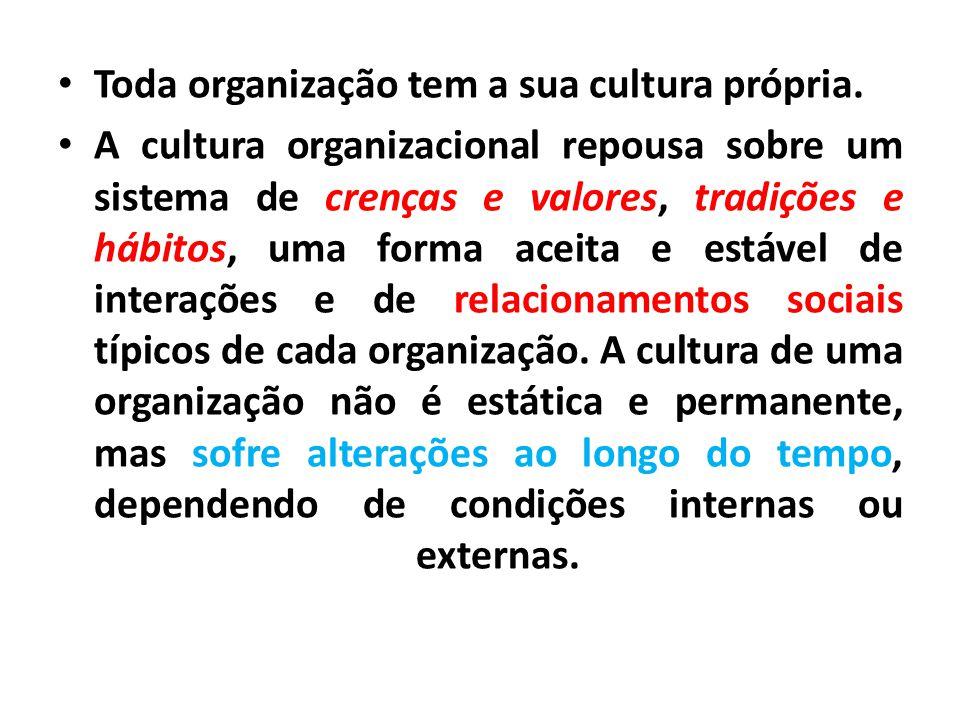 Toda organização tem a sua cultura própria.