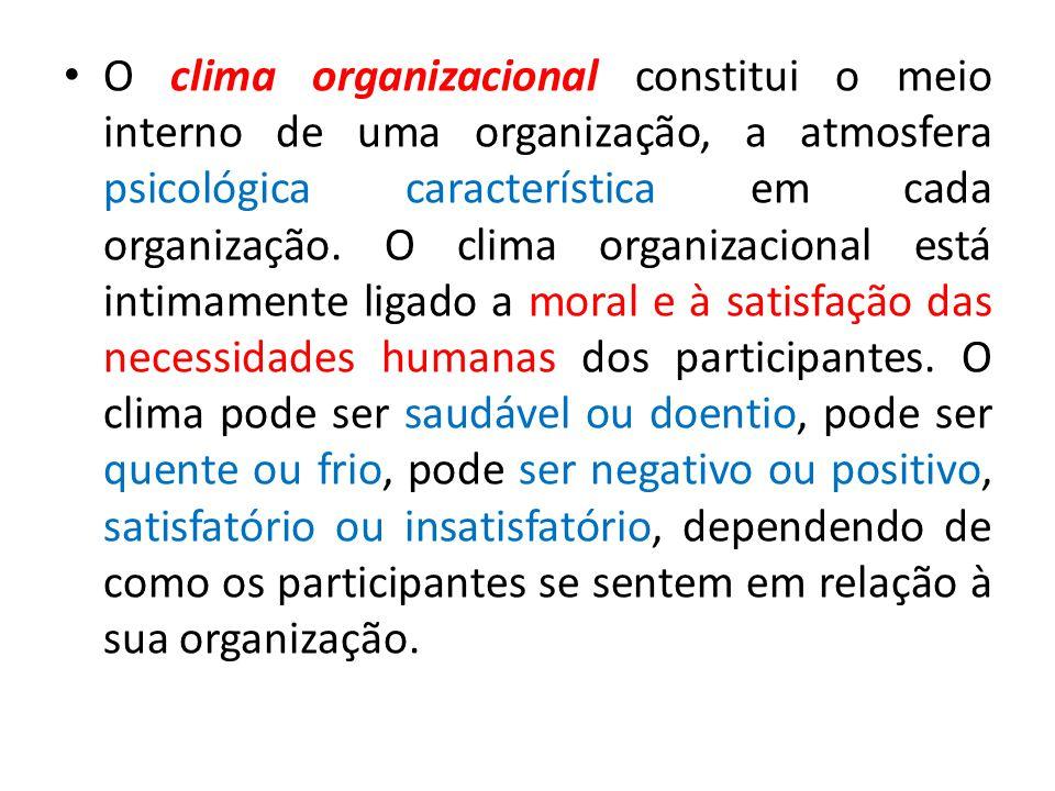 O clima organizacional constitui o meio interno de uma organização, a atmosfera psicológica característica em cada organização.