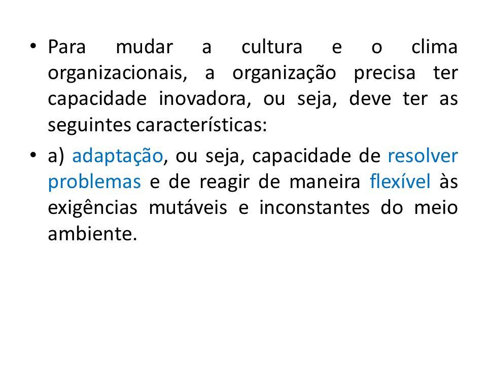 Para mudar a cultura e o clima organizacionais, a organização precisa ter capacidade inovadora, ou seja, deve ter as seguintes características: