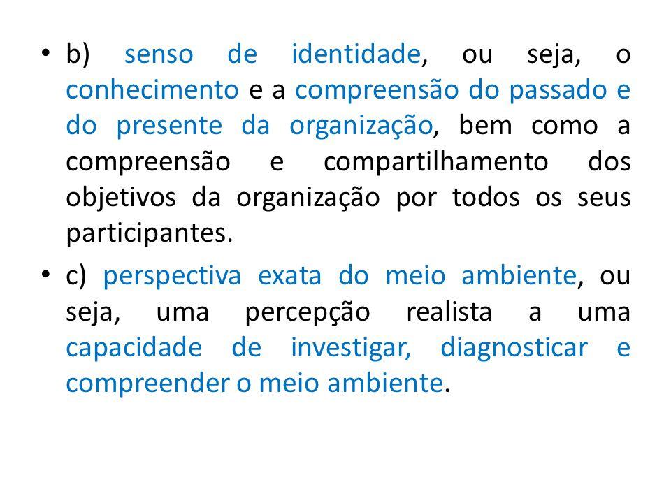 b) senso de identidade, ou seja, o conhecimento e a compreensão do passado e do presente da organização, bem como a compreensão e compartilhamento dos objetivos da organização por todos os seus participantes.