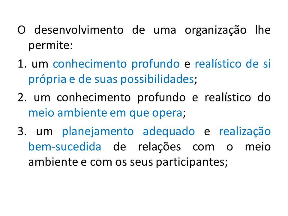 O desenvolvimento de uma organização lhe permite:
