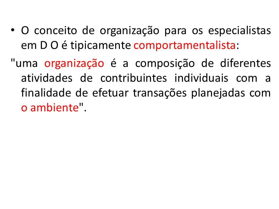 O conceito de organização para os especialistas em D O é tipicamente comportamentalista: