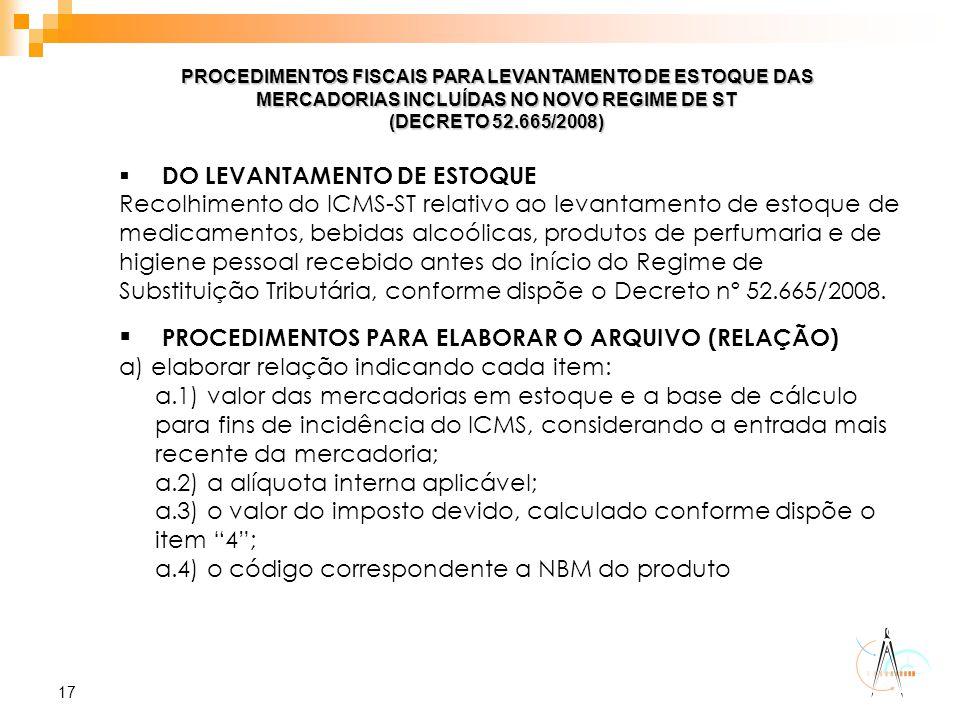 PROCEDIMENTOS PARA ELABORAR O ARQUIVO (RELAÇÃO)