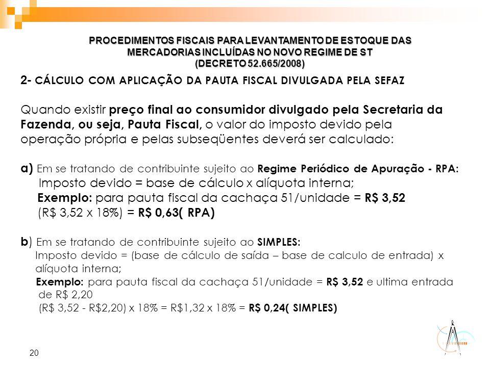 2- CÁLCULO COM APLICAÇÃO DA PAUTA FISCAL DIVULGADA PELA SEFAZ