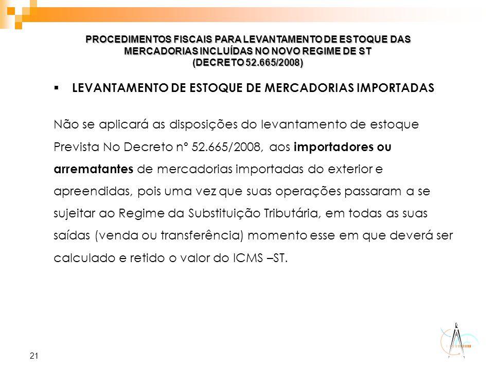LEVANTAMENTO DE ESTOQUE DE MERCADORIAS IMPORTADAS