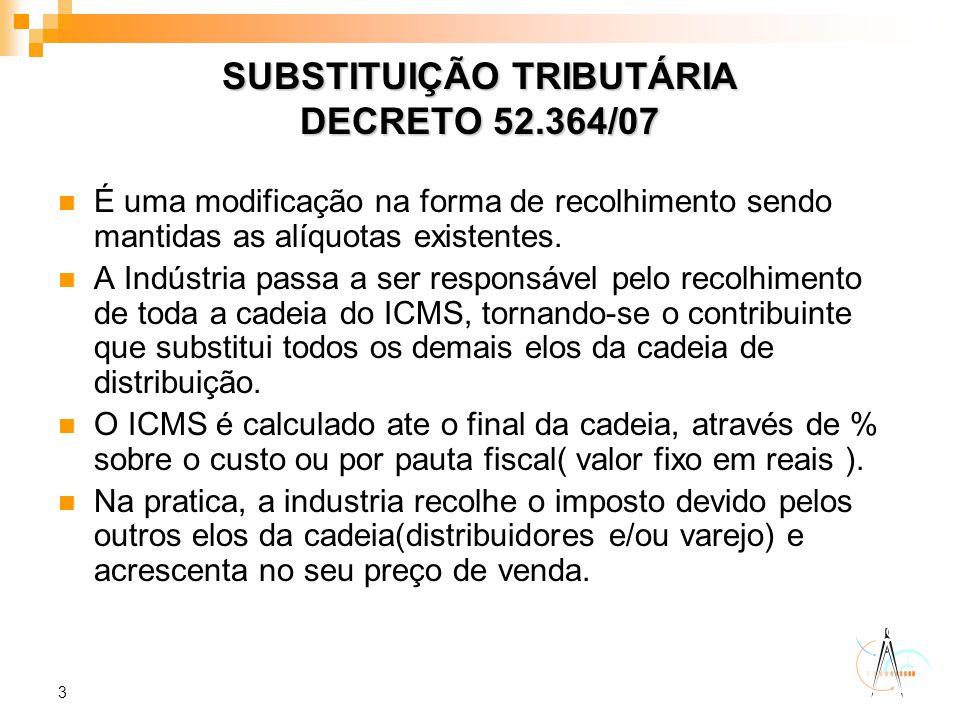 SUBSTITUIÇÃO TRIBUTÁRIA DECRETO 52.364/07