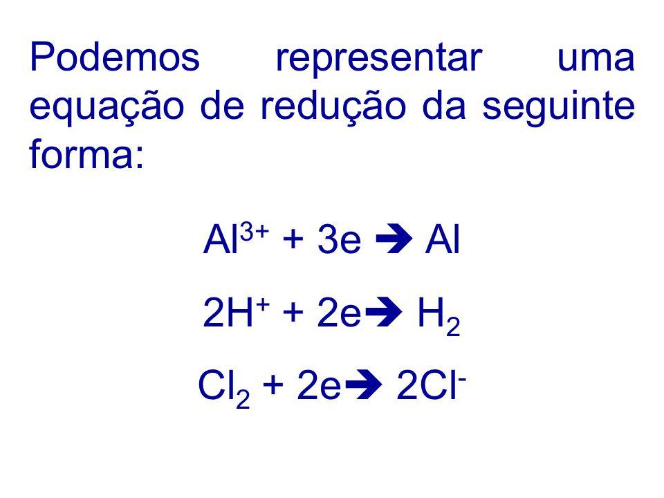 Podemos representar uma equação de redução da seguinte forma: