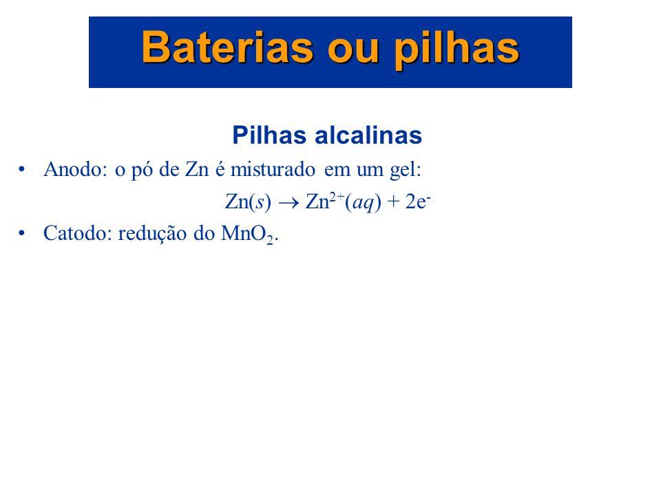 Baterias ou pilhas Pilhas alcalinas