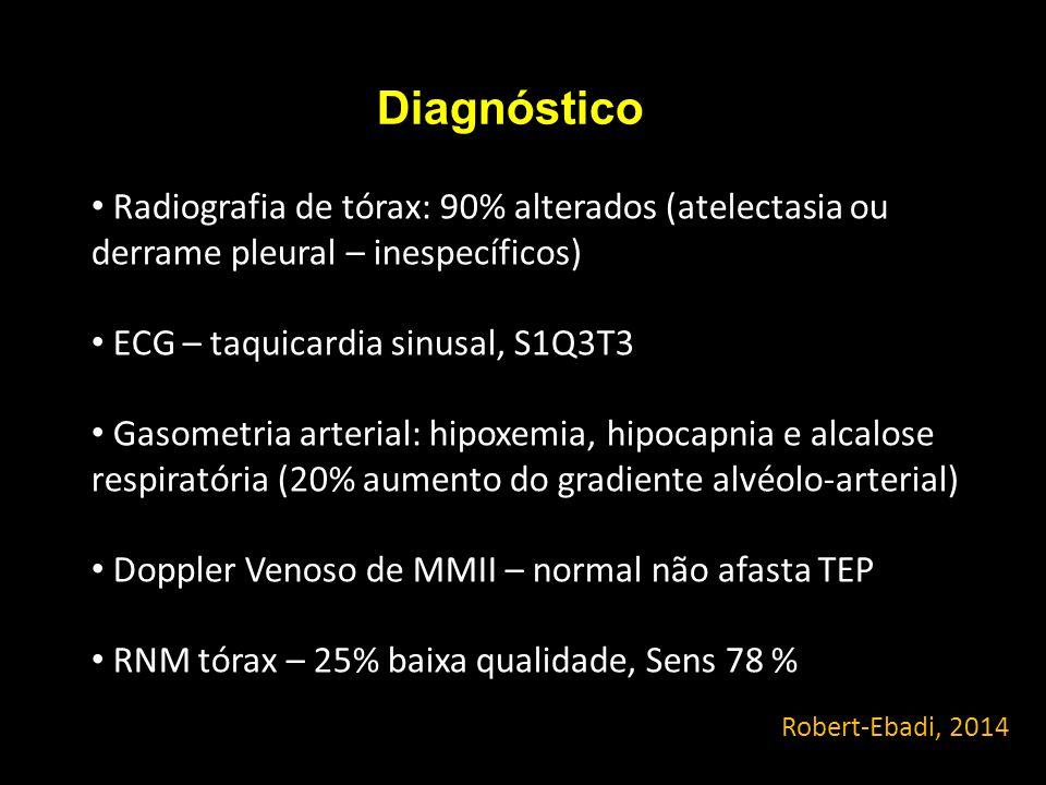 Diagnóstico Radiografia de tórax: 90% alterados (atelectasia ou derrame pleural – inespecíficos) ECG – taquicardia sinusal, S1Q3T3.