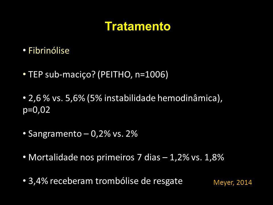 Tratamento Fibrinólise TEP sub-maciço (PEITHO, n=1006)