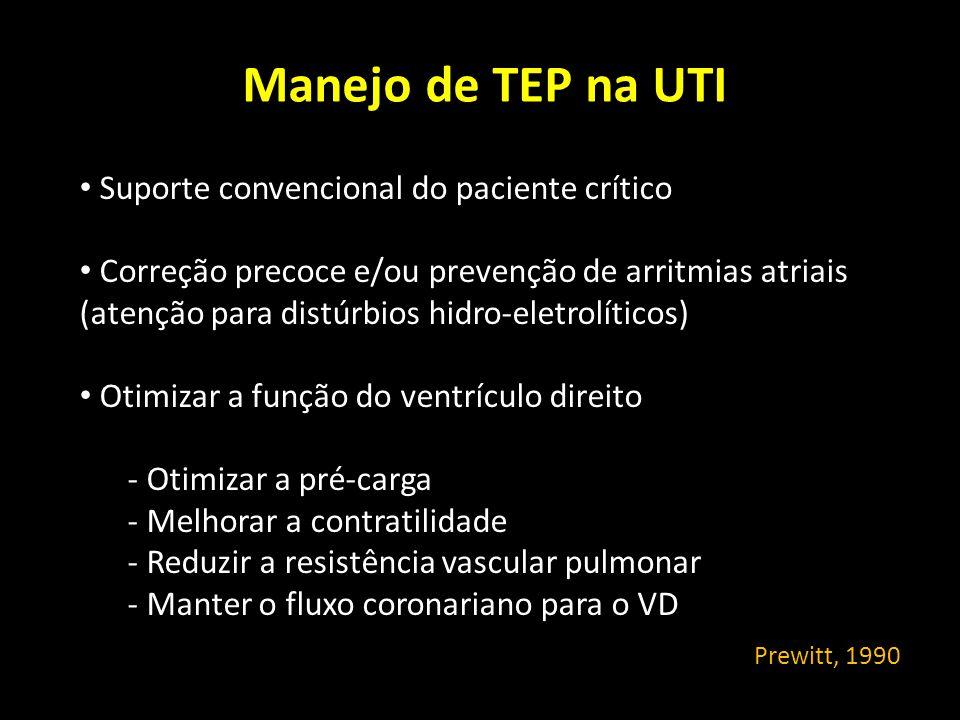 Manejo de TEP na UTI Suporte convencional do paciente crítico