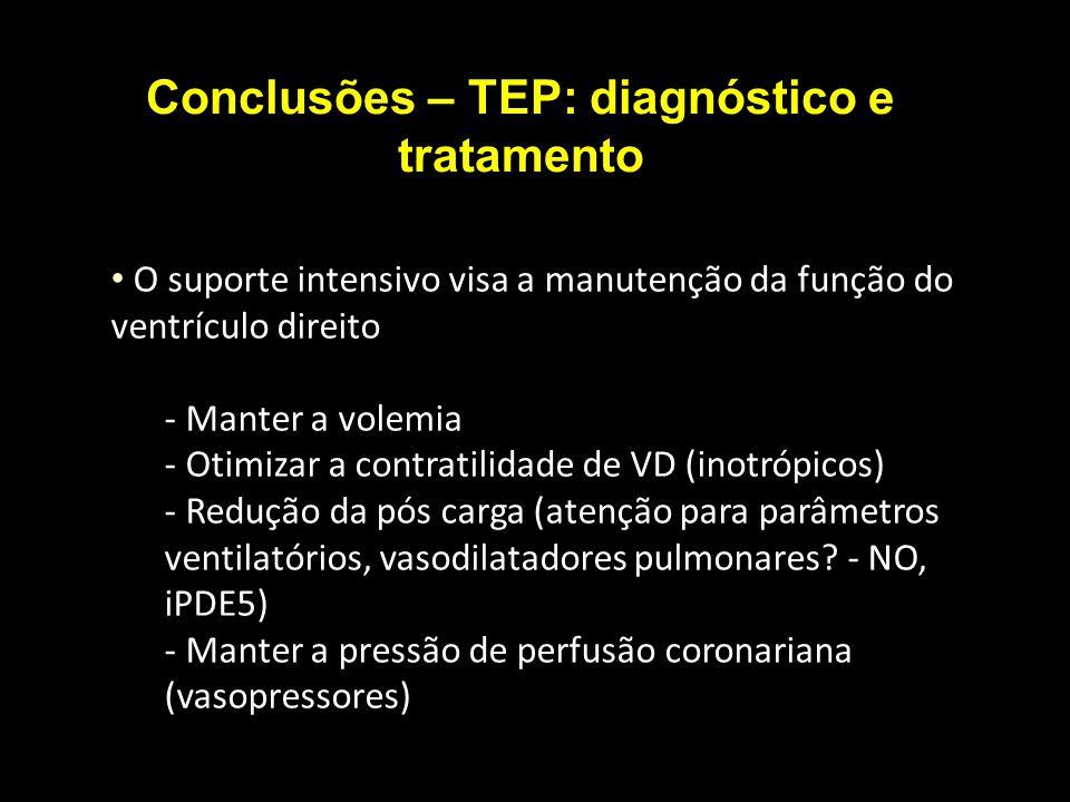 Conclusões – TEP: diagnóstico e tratamento