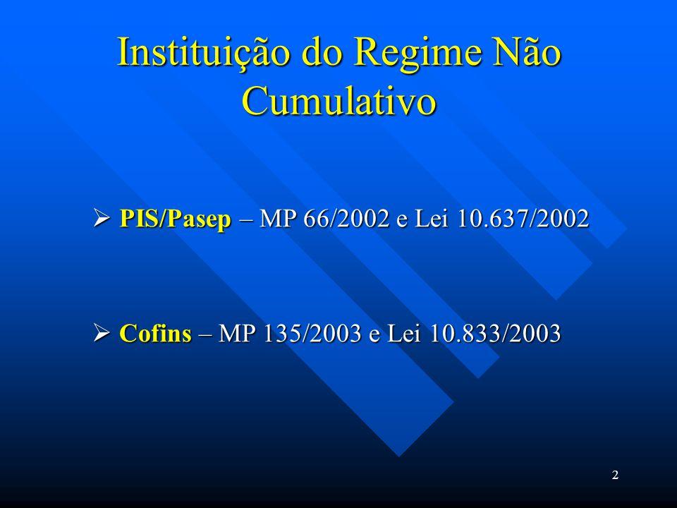 Instituição do Regime Não Cumulativo