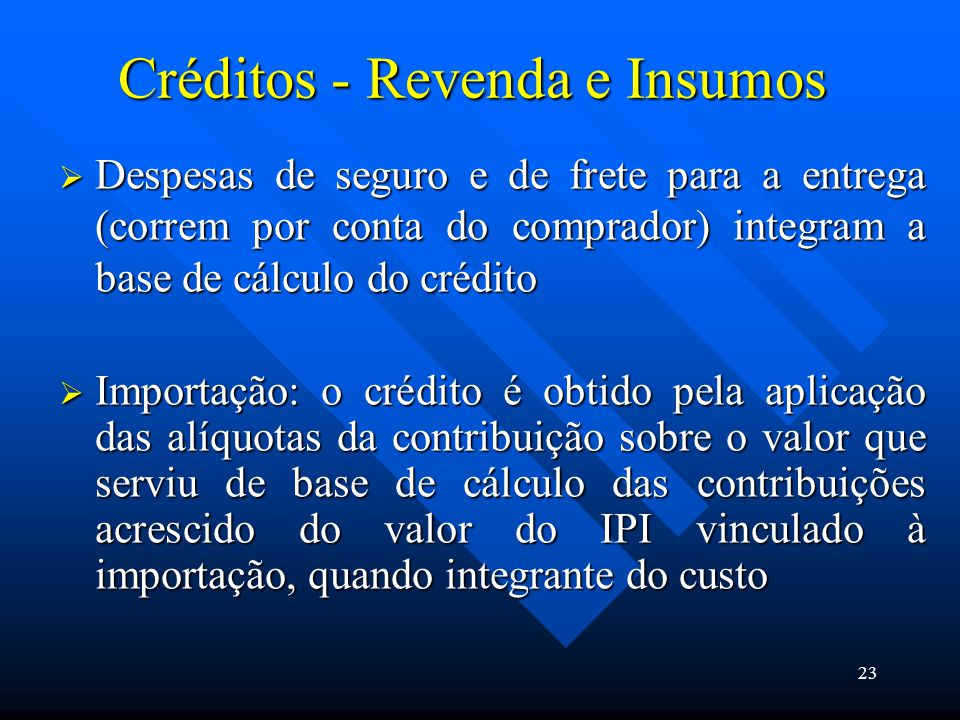 Créditos - Revenda e Insumos