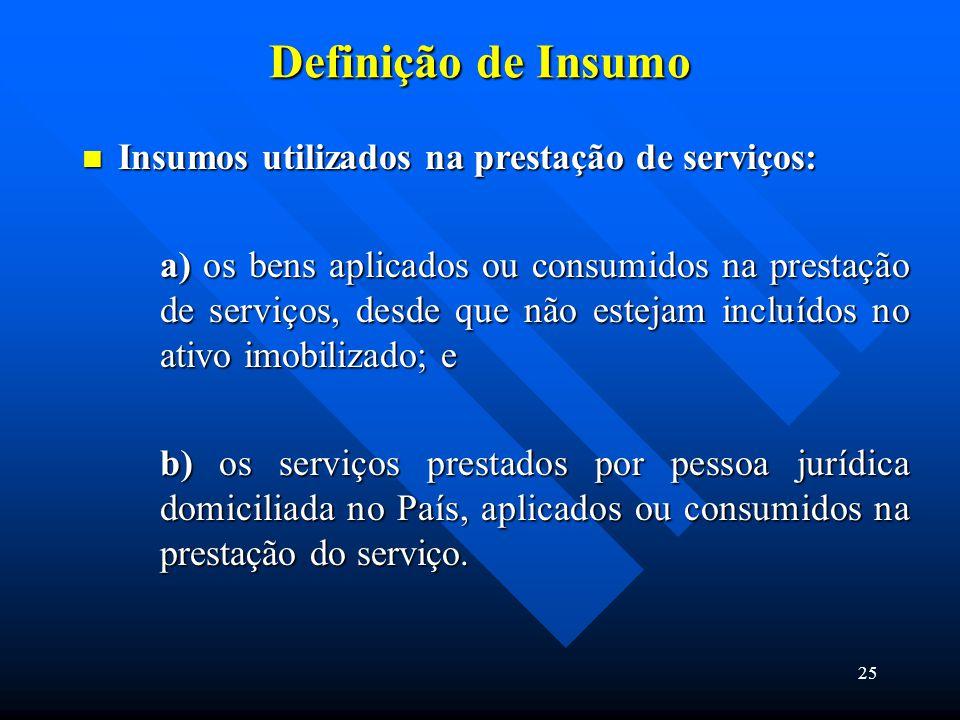 Definição de Insumo Insumos utilizados na prestação de serviços:
