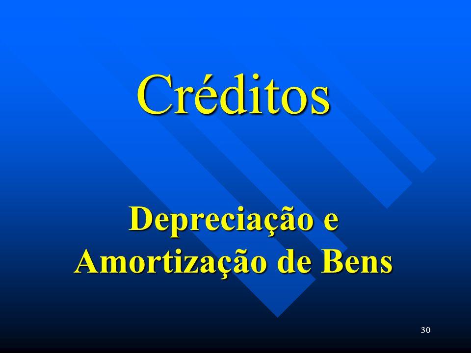 Créditos Depreciação e Amortização de Bens