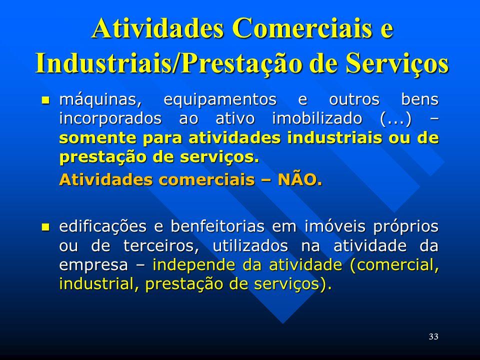 Atividades Comerciais e Industriais/Prestação de Serviços