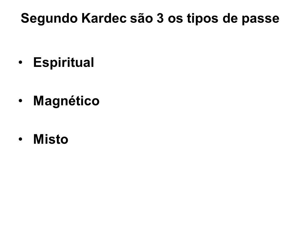 Segundo Kardec são 3 os tipos de passe