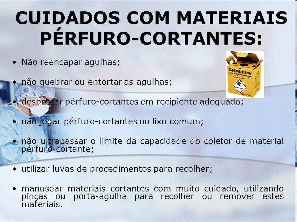 CUIDADOS COM MATERIAIS PÉRFURO-CORTANTES: