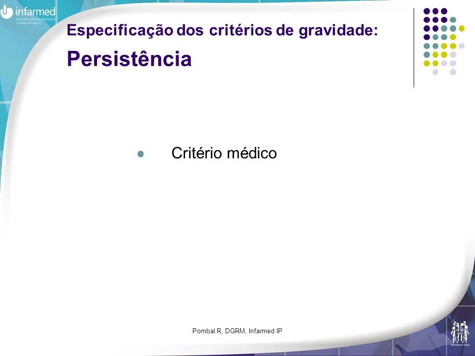Especificação dos critérios de gravidade: Persistência