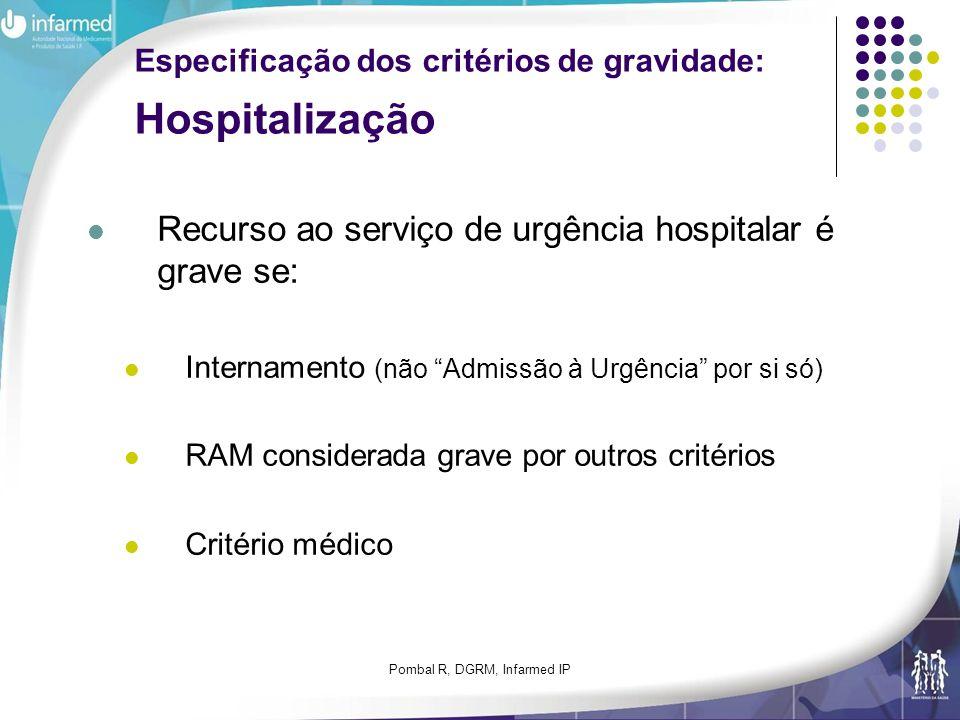 Especificação dos critérios de gravidade: Hospitalização