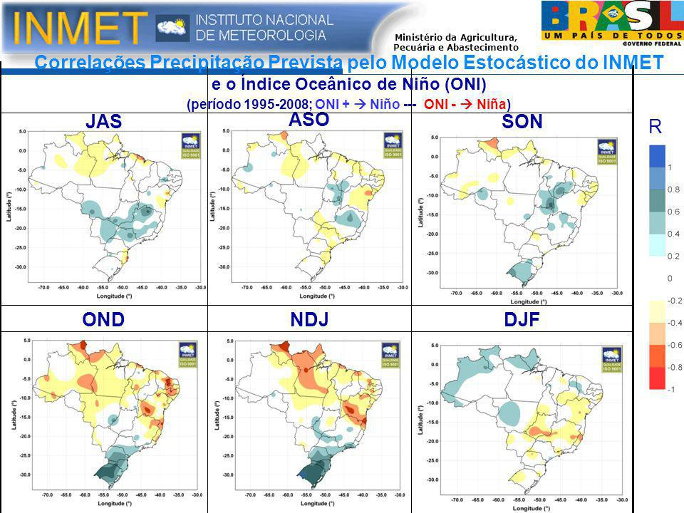Correlações Precipitação Prevista pelo Modelo Estocástico do INMET e o Índice Oceânico de Niño (ONI) (período 1995-2008; ONI +  Niño --- ONI -  Niña)
