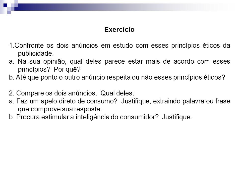 Exercício 1.Confronte os dois anúncios em estudo com esses princípios éticos da publicidade.