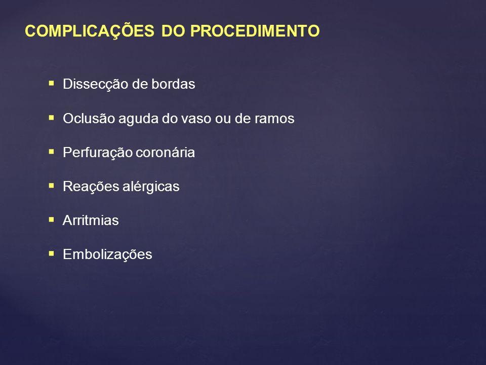 COMPLICAÇÕES DO PROCEDIMENTO
