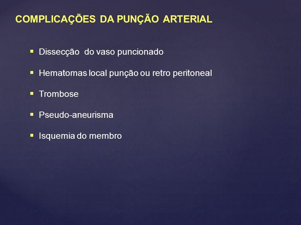 COMPLICAÇÕES DA PUNÇÃO ARTERIAL