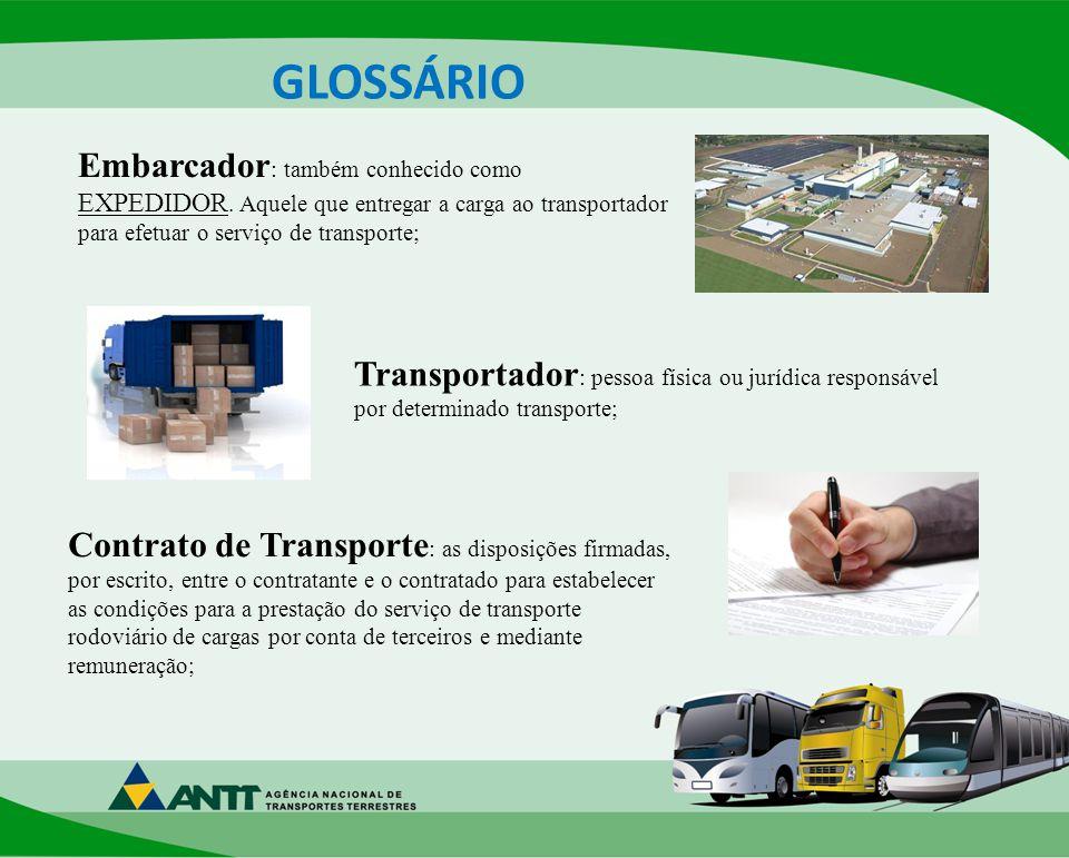 GLOSSÁRIO Embarcador: também conhecido como EXPEDIDOR. Aquele que entregar a carga ao transportador para efetuar o serviço de transporte;
